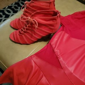 FOREVER RED MESH/FABRIC STILLETO BOOTIES